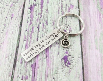 Positive Quote Keychain - Positive Thinking - Positive Inspiration Quotes - Inspirational Necklace - Positive Jewelry - Recovery Jewelry