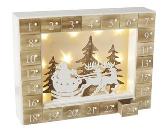 LED Wooden Christmas Advent Calendar, countdown, box, naughty or nice, suitable for kids and adults, December 1st - Christmas Eve