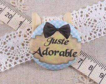 x 1 28mm fabric button just adorable ref A13