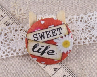 1 cabochon 22mm x fabric sweet life ref A14