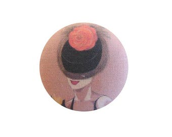 1 fabric button x 22mm Flower hat woman orange BOUT13