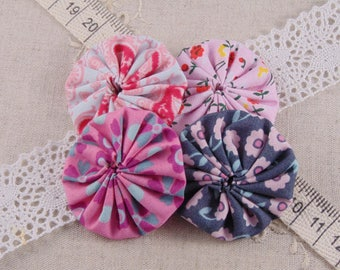 x 4 pink and gray ref15 flowers fabric yoyos