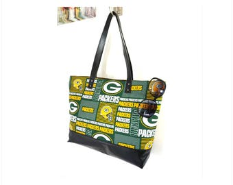 Greenbay Packers NFL Vegan Leather Tote Purse, Greenbay Packers Tote Bag, NFL Game Bag for Woman, Greenbay Packers Fan Gift
