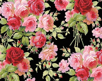 SALE! Rose - Per Yd - Roses on Black - by Anna Griffin