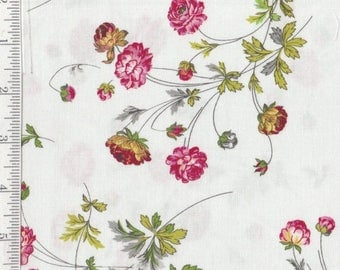 SALE! Floral on White - Charlotte - Per Yd - by Anna Griffin