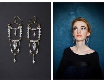 Earrings Art Deco. Wedding earrings. Elegant earrings. Evening earrings. Crystal earrings. Earrings with glass beads.