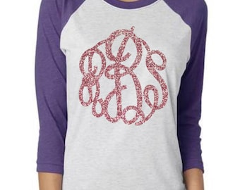 Monogram Raglan, Monogram Baseball Tee, Monogram Shirt, Ladies Monogram, Womens Monogram, Ladies Raglan, Womens Raglan, Rose Gold