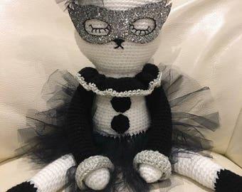 Hand crocheted, Superhero cat.