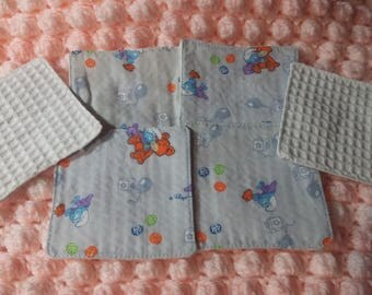 Set of six wipes washable