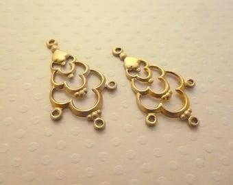Set of 2 candlesticks Golden connectors 32 x 19 mm