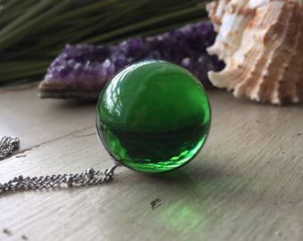 Antique Green Marble Necklace - Marble Necklace - Orb Necklace - Orb Pendant - Gazing Ball - Soldered Necklace - Crystal Ball