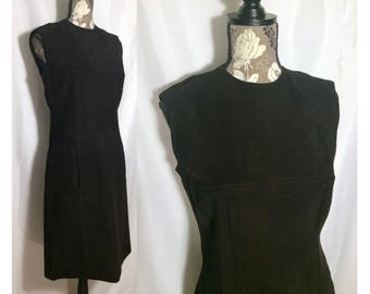 Vintage 1970s Suede Sheath Dress // S