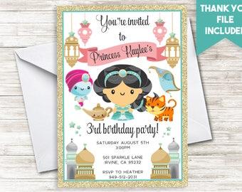 Princess Jasmine Invitation Invite Girls Kids Digital Personalized Gold Glitter ANY AGE 5x7