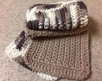 Set of 4 / 100% cotton Handmade crochet dishrags, 2 solid brown, 2 multi colored brown and cream