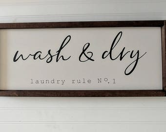 Wash & Dry Laundry Sign - laundry wood sign - fixer upper style laundry sign