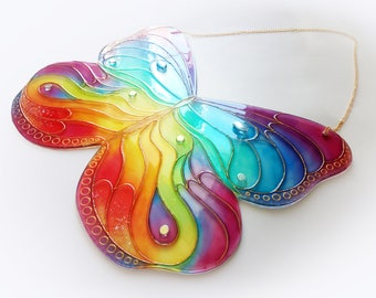 Hand painted glass butterfly, stained glass butterfly, rainbow butterfly, stained glass suncatcher, butterfly suncatcher