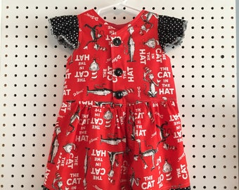 Cat in the Hat, Dr. Suess, button up front dress, size 3T ready, can request sizes 2-5