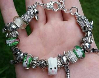 Bunny rabbit charm murano European bracelet