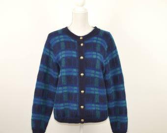 Vintage Scottish Mohair Cardigan  |   Vintage Mohair Blue Plaid Sweater  |   Classic Vintage Mohair Cardigan Sweater