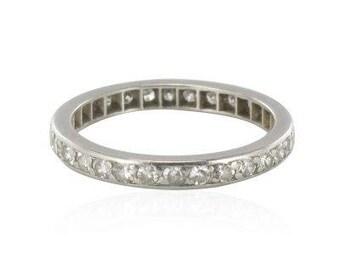 Diamonds on Platinum modern platinum wedding band