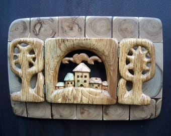 Decorative wood panel Paysage. City gates, forest, village, houses, trees, view. Wall hanging wood art, wood carving, souvenir, wooden gifts