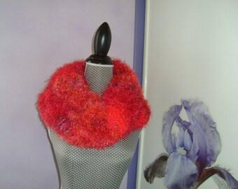 Large Snood scarf tube wool fancy 150 x 35 cm