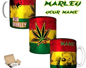 Bob Marley Rastafarian Theme  Printed Mug Personalised with Your NAME 11oz & 15oz Mugs