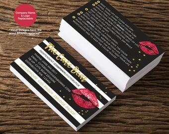 Lipsense Business Cards, Lipsense business card, black striped, lip stick, instructions