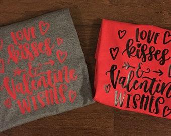 Love Kisses & Valentine Wishes Tee Shirt