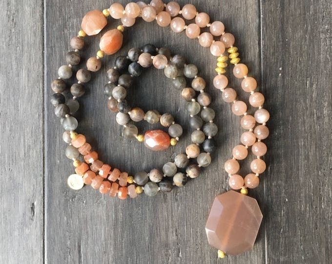 Featured listing image: Peach Moonstone and Black Sunstone Mala Necklace, Mala 108 Handknotted, Chakra Necklace, Yoga Jewelry, Prayer Beads