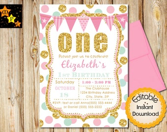 Pink and Mint First Birthday Invitation, Girl, Gold Glitter, Dots, Editable Adobe Reader, DIY
