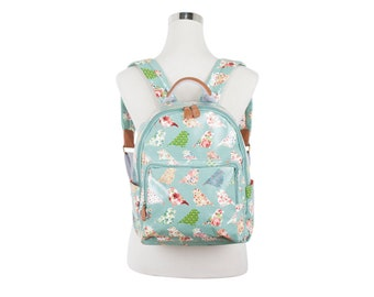 Ipad Green bird Backpack, Ladies backpack, Teen girl bird rucksack, Oilcloth backpack, oil cloth laminated cotton, water resistant