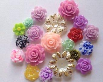 20 mixed resin flowers  flat backed  scrapbook embellishment scrap booking random selection