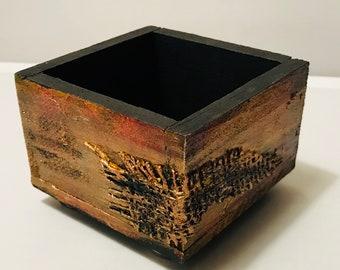 "Hand Painted Wood Box 3.5"" x 3.5"" x 2.5"""