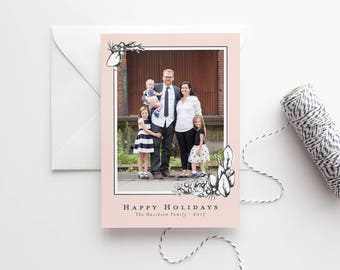 Floral Christmas Cards - Family Photo Cards - Botanical Photo Card - Modern Christmas Card - Photo Holiday Cards - Holiday Photo Card