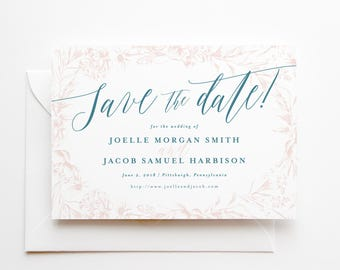 Printed Non-Photo Save the Date Cards for Weddings - Premium Quality Paper and Envelopes - 5x7 - Hand-drawn Floral - Blush and Dusty Blue
