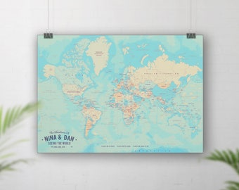 Push Pin Board Map, Pinboard Map, World Travel Map, Places we've been map, Place going, Map of the World, Personalised map, Custom wall map