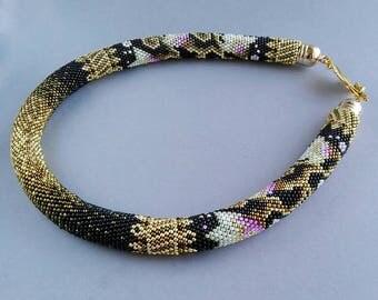Handmade crochet necklace, crochet necklace, crochet rope necklace, beaded necklace, jewelry