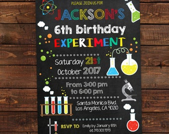 science birthday invitations mad science party science party editable pdf instant download - Science Party Invitations