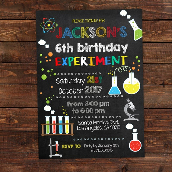 Science Birthday Invitations Mad Science Party Science Party