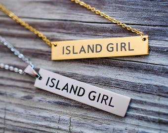 Bar Necklace, Bar Pendants, Island Girl, Stainless Steel