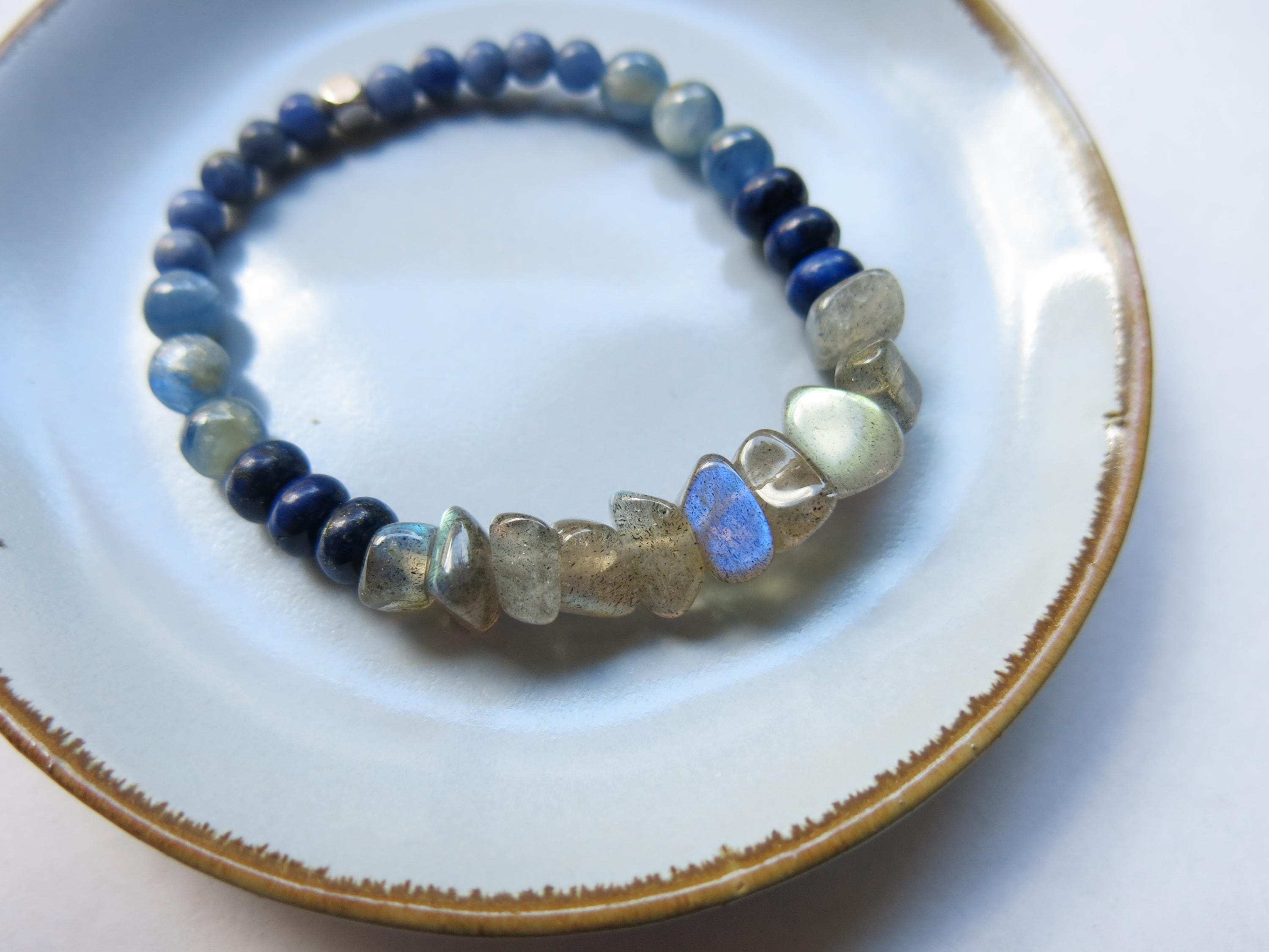 hematite artisan moonstone elastic discovered with goods bracelet