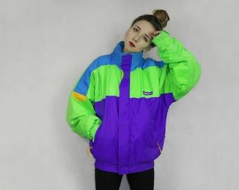 Vintage Ski jacket / Color block jacket / Bright neon jacket / Ski & Sail jacket / Snowboard jacket