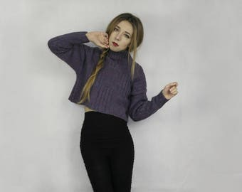 Wool sweater / Crop wool sweater / Turtle neck sweater / Wool pullover / Small medium short sweater