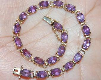 "10K Solid Yellow Gold Purple Amethyst Tennis Bracelet 7.1/4"" Long 5.7 grams"