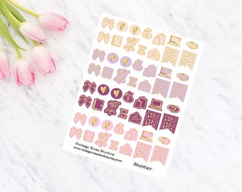 Slumber Foiled Icons Planner Stickers with Gold, Rose Gold or Silver for All Planner Types Erin Condren, Kate Spade, FiloFax, Inkwell