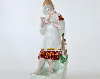 Vintage Large Soviet Russian Ukrainian Ceramic Girl Figurine, He loves me, He loves me not, Fortune Telling on a Daisy