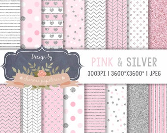 Pink and Silver Glitter Digital Papers, Pink and silver scrapbook papers, Princess digital paper, chevron pink and silver, chevron silver