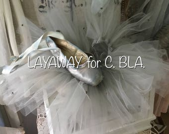LAYAWAY for C . BLA.!!!! Do. Not buy !!Very large babyblue- grey tulle collar and ballettshoes,rare