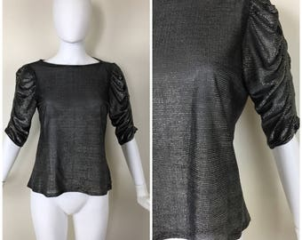 Vintage 1980s Womens Silver and Black Metallic Mesh Puff Sleeve Pullover Semi Sheer Blouse | Size S